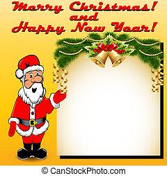 lykønskning, baggrund, claus, illustration, santa, branches,...