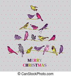 lykønskning, -, træ, fugle, invitation, vektor, retro, card christmas