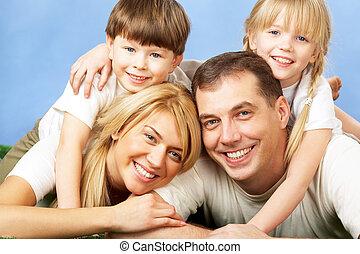 lykkelige, familie