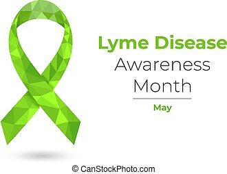 Lyme Disease Awareness Month - May - green ribbon. Low poly colorful vector illustration for web and printing isolated on white.