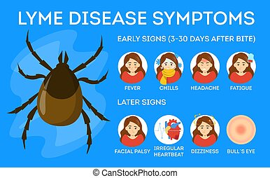 Lyme disease symptoms. Danger for health from tick bite, borreliosis infection. Internal organs illness. Vector illustration in cartoon style