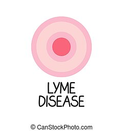 lyme disease text and erythema migrans rash concept- vector illustration
