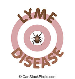 Lyme Disease graphic illustration, bulls-eye rash, text in concentric circle surrounding tick, isolated on white. EPS8 compatible.