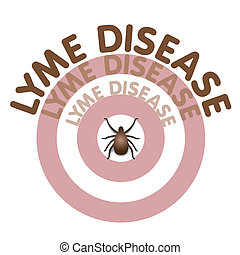 Lyme Disease graphic illustration, bulls eye rash, text in concentric circles surrounding tick, isolated on white. EPS8 compatible.