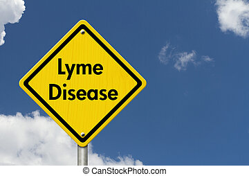 Lyme Disease Warning Road Sign, Yellow Caution sign with...