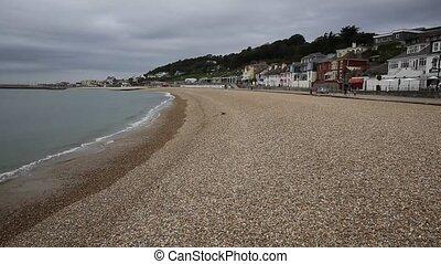 Lyme Regis beach and waves Dorset - Lyme Regis Dorset...