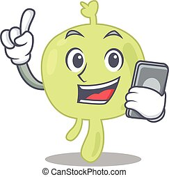 Lymph node caricature character speaking with friends on phone. Vector illustration