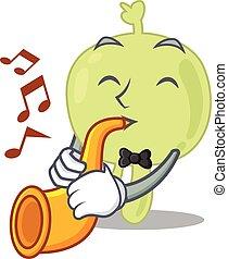 Lymph node musician of cartoon design playing a trumpet