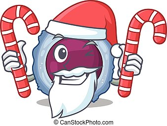 Lymphocyte cell Cartoon character in Santa costume with ...