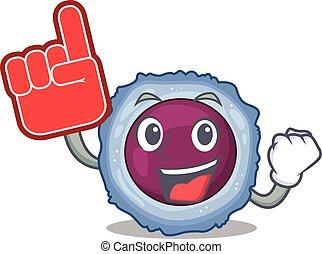 Lymphocyte cell mascot cartoon style holding a Foam finger. ...