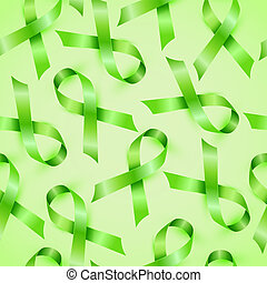Lymphoma cancer green ribbon isolated on white background. ...