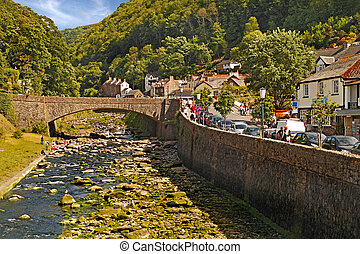 Lynmouth in Devon - The rivers East Lyn and West Lyn join a...