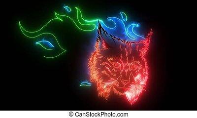 Lynx animal face. Eurasian lynx cat head portrait.