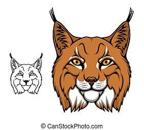 lynx, animal, ou, tête, sauvage, lynx, mascotte, dessin animé