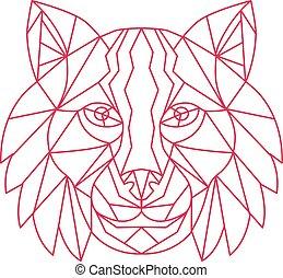 Lynx Bobcat Head Mono Line