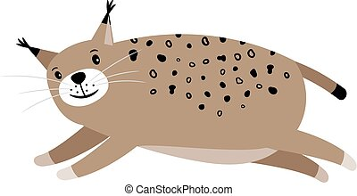 Lynx cute cartoon animal icon