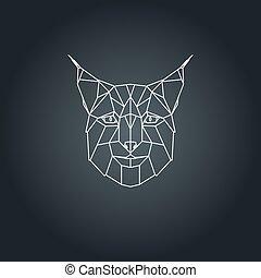 Lynx head. Geometric vector illustration.