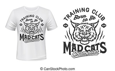 lynx, lynx, mascotte, club, sport, ou, t-shirt, impression