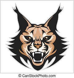 Lynx mascot logo. Head of lynxes isolated vector...