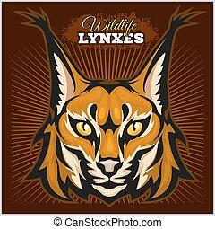 Lynx mascot logo. Head of lynxes vector illustration.