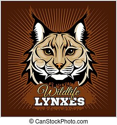 Lynxes - vector emblem. Lynx Wildcat mascot illustration