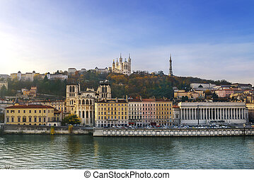 Lyon and fourviere hill - Lyon city and fourviere hill in ...