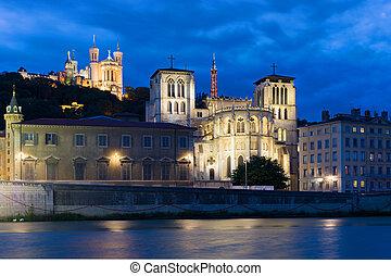 Lyon at night