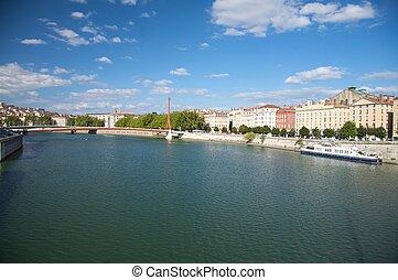 lyon bank of river rhone - rhone river at lyon city in ...