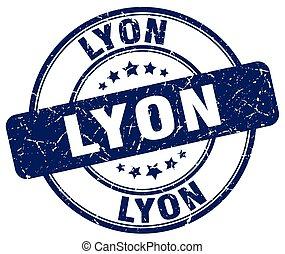 Lyon blue grunge round vintage rubber stamp