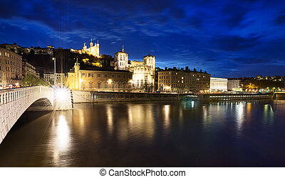 night view from Lyon city near the Fourviere cathedral and Saône river