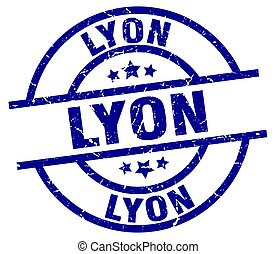 Lyon blue round grunge stamp