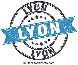 Lyon blue round grunge vintage ribbon stamp