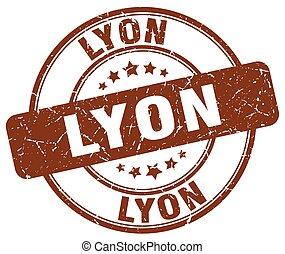 Lyon brown grunge round vintage rubber stamp