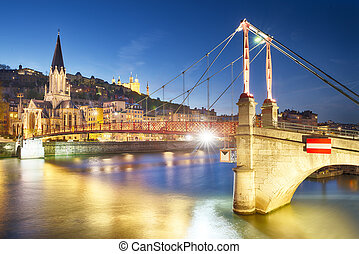 Lyon by nigt with lights - night view from St Georges ...