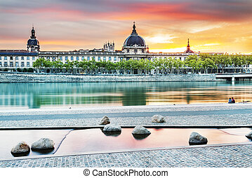 Lyon by sunset in summer - night view from Rhone river in ...