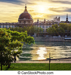 Lyon city at sunset with Rhone river
