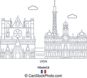 Lyon City Skyline, France - Lyon Linear City Skyline, France