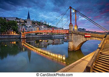 Lyon. - Cityscape image of Lyon, France during sunrise.