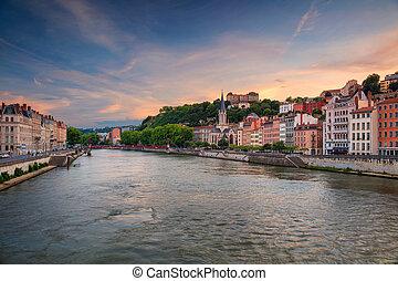 Lyon. - Cityscape image of Lyon, France during sunset.