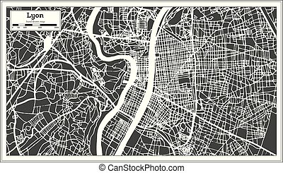 Lyon France City Map in Retro Style. Outline Map. Vector...