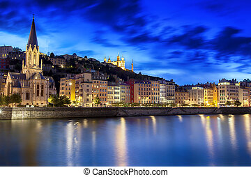 Night view of Lyon, France. Saone River with Notre Dame de Fourviere.