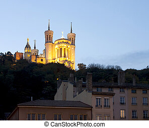 Lyon, France - October 27, 2013 : The Lanscape of the Fourviere basilic of Lyon City, France.