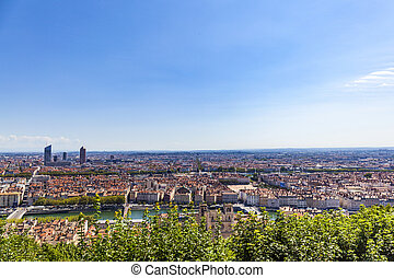 Lyon, France, panorama of the city under blue sky