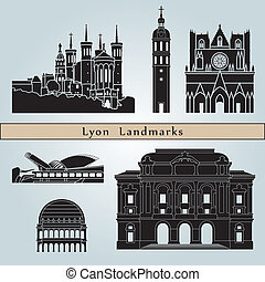 Lyon landmarks and monuments isolated on blue background in...