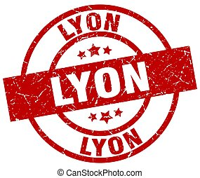 Lyon red round grunge stamp
