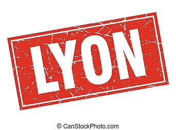 Lyon red square grunge vintage isolated stamp