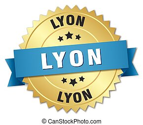 Lyon round golden badge with blue ribbon