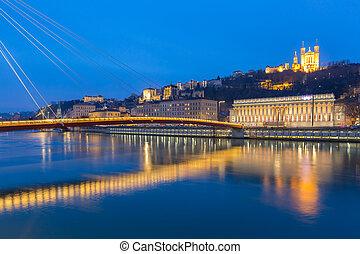 Lyon Saone river Fourviere Notre-Dame - Lyon Notre-Dame de ...
