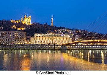 Lyon Saone river Fourviere Notre-Dame - Lyon Notre-Dame de...