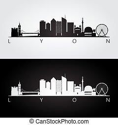 Lyon skyline and landmarks silhouette, black and white...